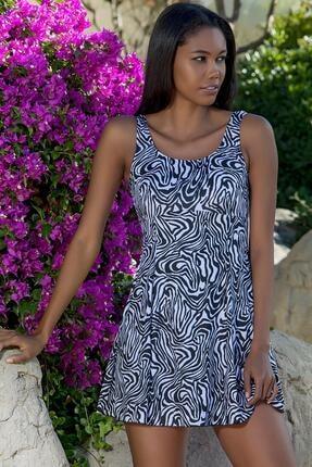 Armes Kadın Siyah Beyaz Şortlu Elbise Mayo