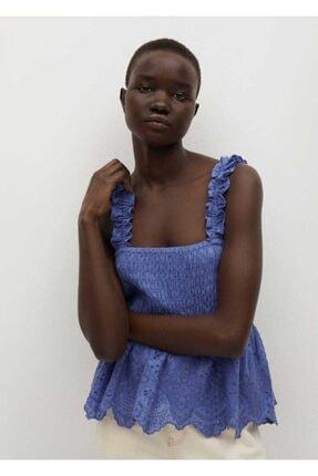 Mango Kadın Mavi Güpür Parçalı Üst