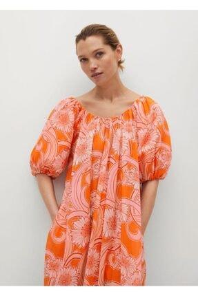 Mango Kadın Turuncu Desenli Koton Elbise