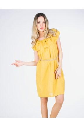 Vision Kadın Hardal  Hasır Kemerli Elbise