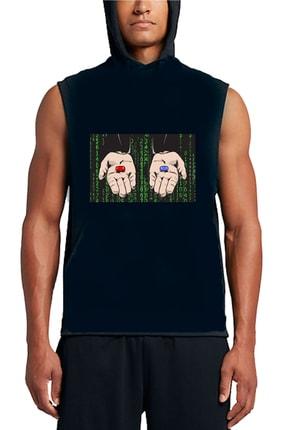 Art T-shirt Unisex Siyah Matrix Pills Tasarım Baskılı Hoodie Sweatshirt