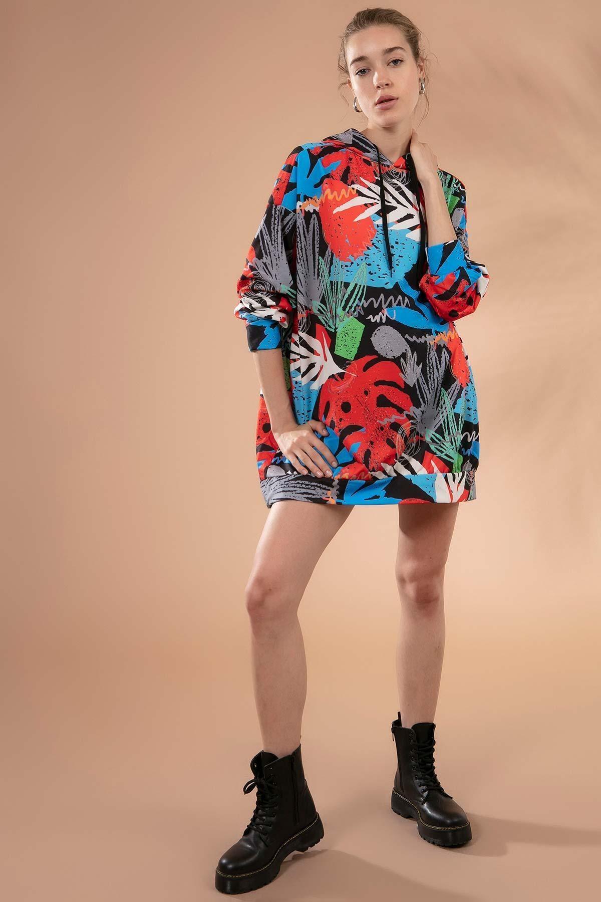 Y-London Kadın Siyah Turuncu Baskılı Kapşonlu Oversize Sweatshirt Elbise Y20W110-4125-34