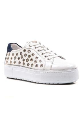 Ferre Milano Kadın  Beyaz Renk Hakiki Deri Kalın Taban Sneaker Ayakkabı