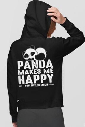 Rock & Roll34 Kadın Siyah Mutlu Panda Fermuarlı Cepli Arkası Baskılı Kapüşonlu Sweatshirt