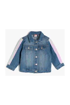 Koton Kız Çocuk Mavi Pullu Klasik Yaka Jean Ceket
