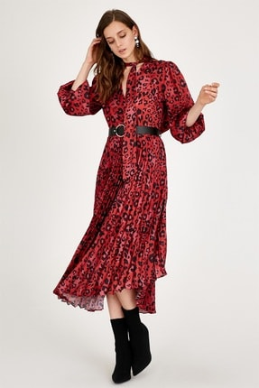 Setre Kadın Kırmızı Kemerli Elbise ST040W401861