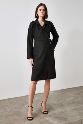 TrendyolMilla Antrasit Kemer Detaylı Elbise TWOAW21EL0056