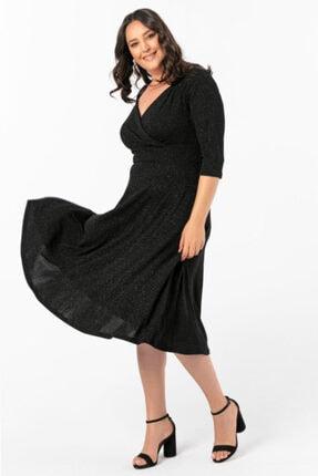 ANGELINO Kadın Büyük Beden Kruvaze Yaka Simli Abiye Elbise