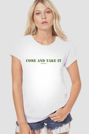 Rock & Roll34 Kadın Beyaz Gel De Al Kısa Kollu T-shirt