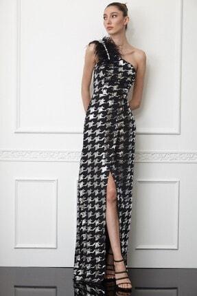 Keikei Kadın Siyah Pul Payetli Krep Tek Kol Uzun Elbise
