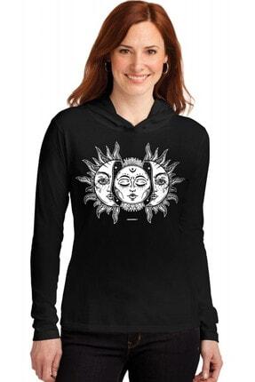 Rock & Roll34 Kadın Siyah Ay Güneş Kapşonlu Uzun Kollu T-shirt