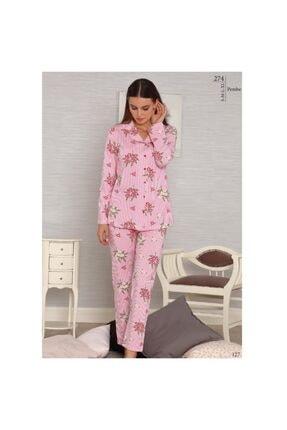 Tuğba Kadın Pembe Önden Düğmel   Pijama Takım