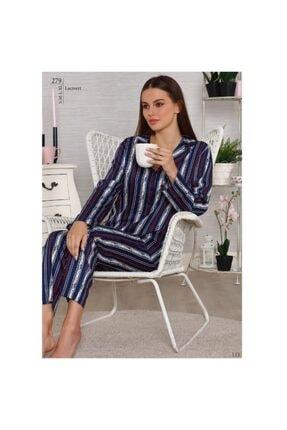 Tuğba Kadın Lacivert  Pamuk Saten Önden Düğmeli  Pijama Takım