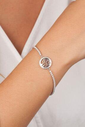 ESTİVA Ağaç Motifli Zirkon Taşlı Gümüş Bileklik