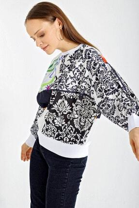 Bigdart Kadın Beyaz  Mix Desenli Oversize Sweatshırt   55318