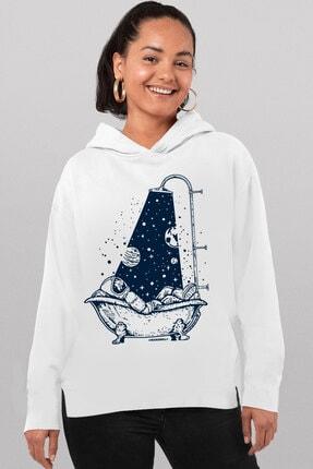 Rock & Roll34 Kadın Beyaz, Astro Duş, Arkası Uzun, Yanları Yırtmaçlı, Kapşonlu Sweatshirt