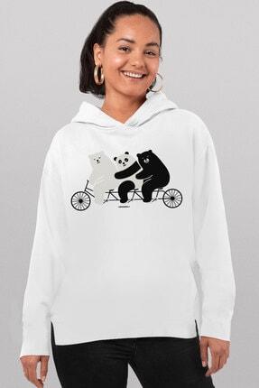 Rock & Roll34 Kadın Beyaz Üçlü Bisiklet Arkası Uzun Yanları Yırtmaçlı Kapüşonlu Sweatshirt