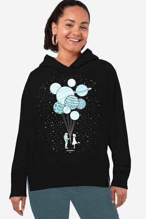 Rock & Roll34 Kadın Siyah Balon Gezegenler Arkası Uzun Yanları Yırtmaçlı Kapşonlu Sweatshirt
