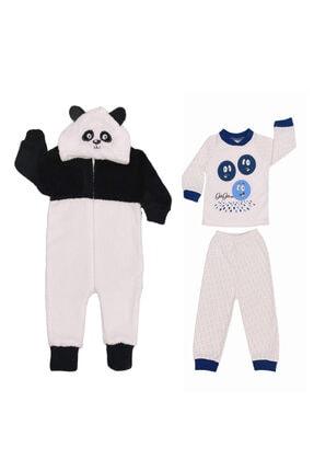 KaktüsKedi 2 Yaş Panda Bebek Tulumu Ve Gülen Yüz Pijama Takımı 555660