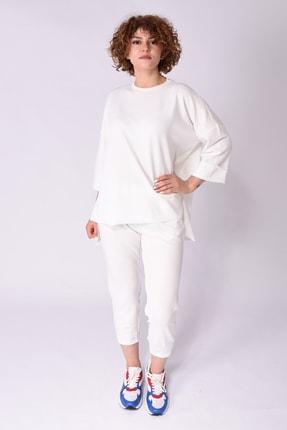 Samtoni Kadın Beyaz Sweatshirt Alt Üst Takım
