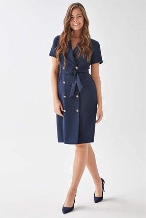 Chima Kadın Lacivert Kruvaze Elbise