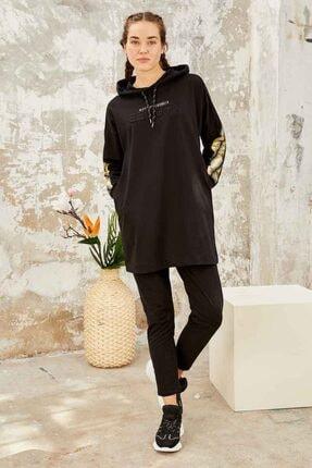 TOMMY LIFE Kadın Parlak Renk Baskılı Kapüşonlu Siyah Gold Tunik Takım