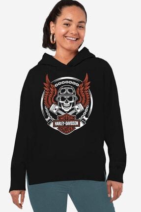 Rock & Roll34 Kadın Siyah Motorcu Kurukafa Arkası Uzun Yanları Yırtmaçlı Kapüşonlu Sweatshirt