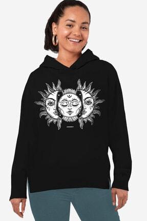 Rock & Roll34 Kadın Siyah Ay Güneş Arkası Uzun Yanları Yırtmaçlı Kapüşonlu Sweatshirt