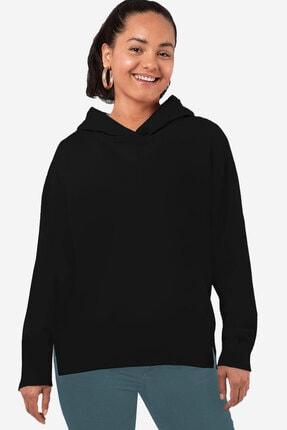 Rock & Roll34 Kadın Siyah Düz Baskısız Arkası Uzun Yanları Yırtmaçlı Kapşonlu Sweatshirt