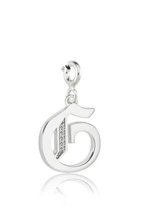 Valori Jewels G Harfi, Swarovski Zirkon Beyaz Taşlı, Gümüş Charm
