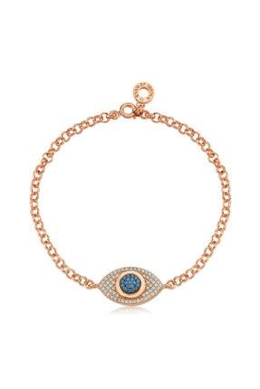 Valori Jewels Kadın Swarovski Zirkon Mavi Ve Beyaz Taşlı Rose Gümüş Bileklik 925 Ayar