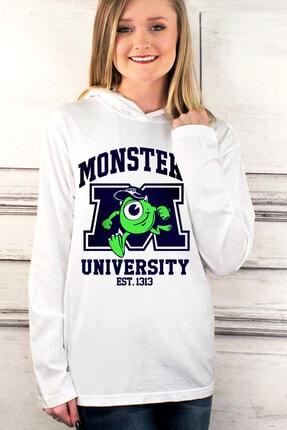 Rock & Roll34 Kadın Beyaz M Üniversitesi Kapşonlu Uzun Kollu T-Shirt