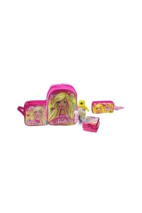 Hakan Çanta Lisanslı Barbie Anaokulu Çantası + Beslenme Çantası + Matara + Beslenme Kabı + Kalem Çantası