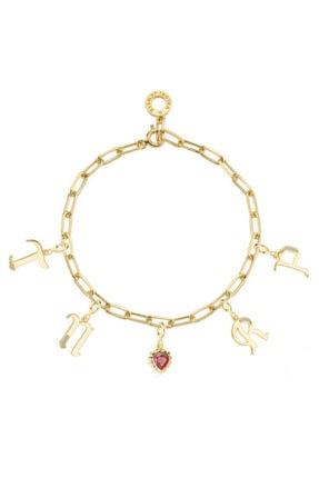Valori Jewels Kadın Sarı Harf Ve Kalp Swarovski Zirkon Taşlı Altın Rengi Gümüş Charm Bileklik Kombini