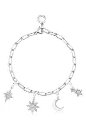 Valori Jewels Kadın Beyaz Yıldız Güneş Ay Swarovski Zirkon Taşlı Gümüş Charm Bileklik Kombini