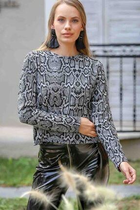 Chiccy Kadın Siyah Desenli Bluz
