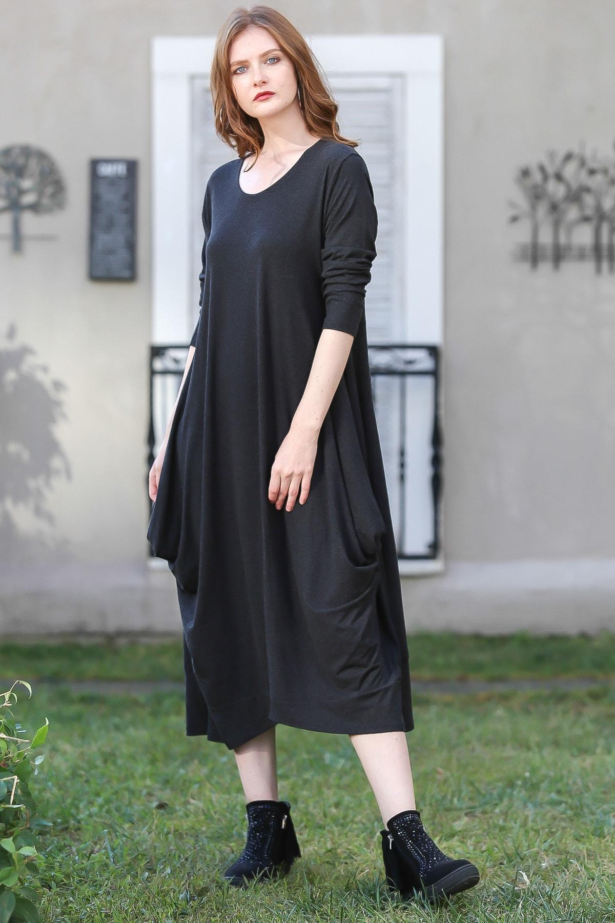 Chiccy Kadın Antrasit Bohem Salaş Yanları Dikişli Uzun Elbise M10160000EL96203
