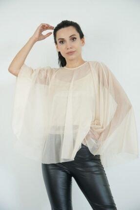 Lila Rose Kadın Bej Pelerin Simli Bluz