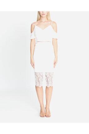 Ayhan Kadın Ekru Bel Detay Elbise