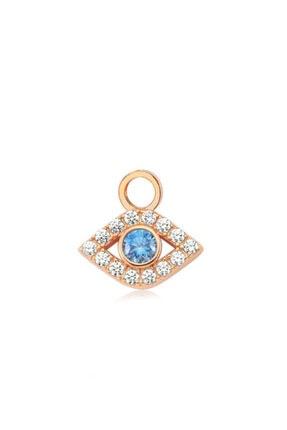 Valori Jewels Gösterişli Nazar Gözü, Swarovski Zirkon Mavi Ve Beyaz Taşlı, Rose Gümüş Küpe Charmı
