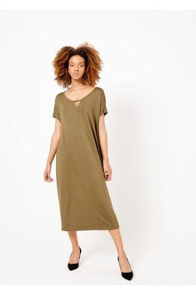 Cazador Kadın Haki Basic Yaka Detaylı Elbise Hakı M