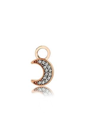 Valori Jewels Ay, Swarovski Zirkon Beyaz Taşlı, Rose Gümüş Küpe Charmı