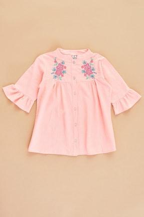 FullaModa Kız Çocuk Somon Düğmeli Çiçek Nakışlı Gömlek