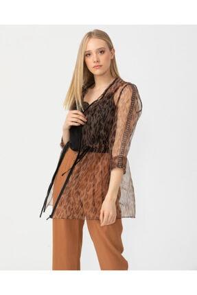 Seçil Kadın Kahverengi Leopar Desenli Tül Ceket