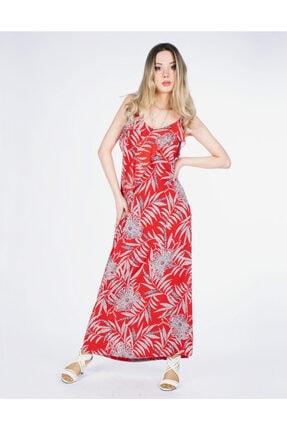 Vision Kadın Kırmızı Askılı Çiçek Detaylı Elbise