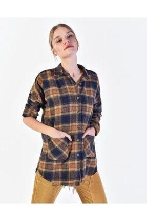 Vision Kadın Hardal Ekoseli Gömlek