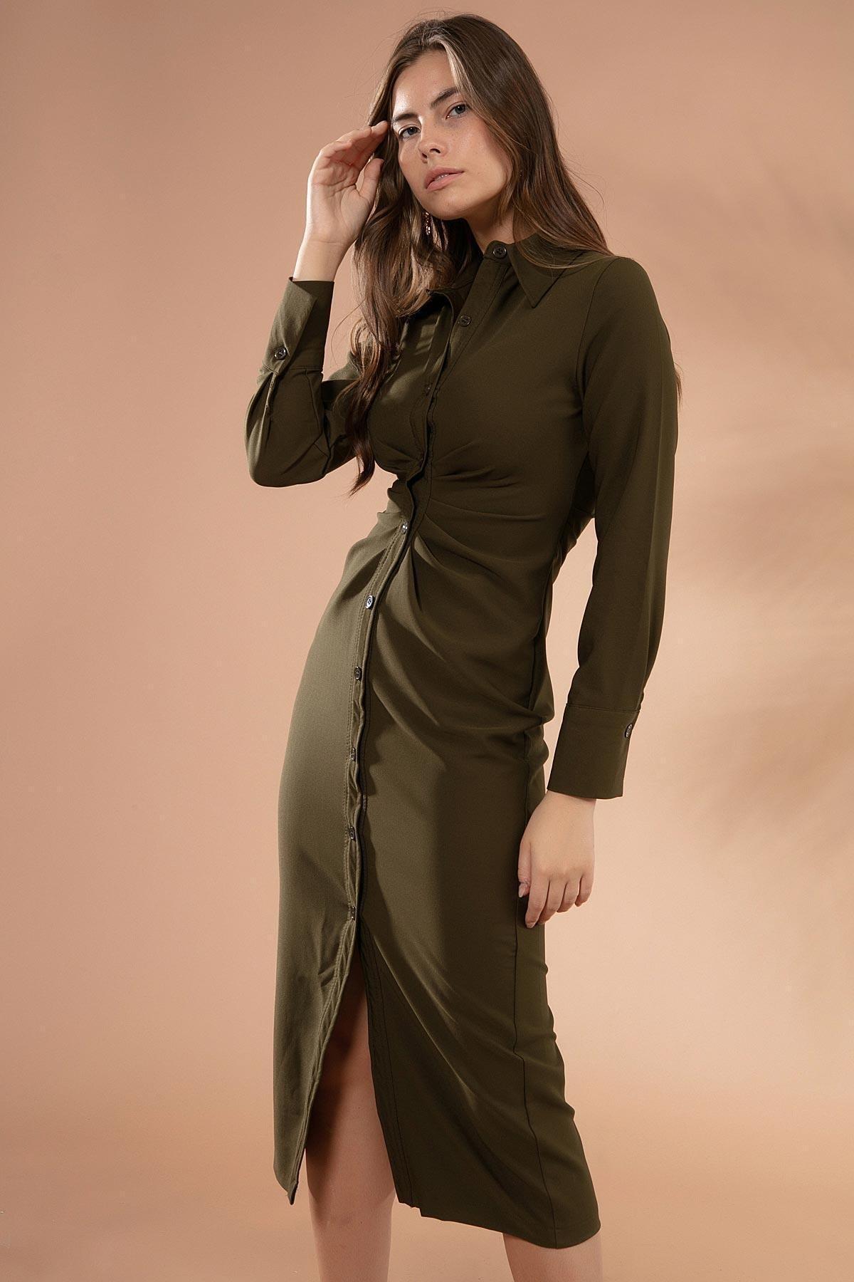 Y-London Kadın Haki Drapeli Uzun Kollu Gömlek Elbise Y20W181-8162