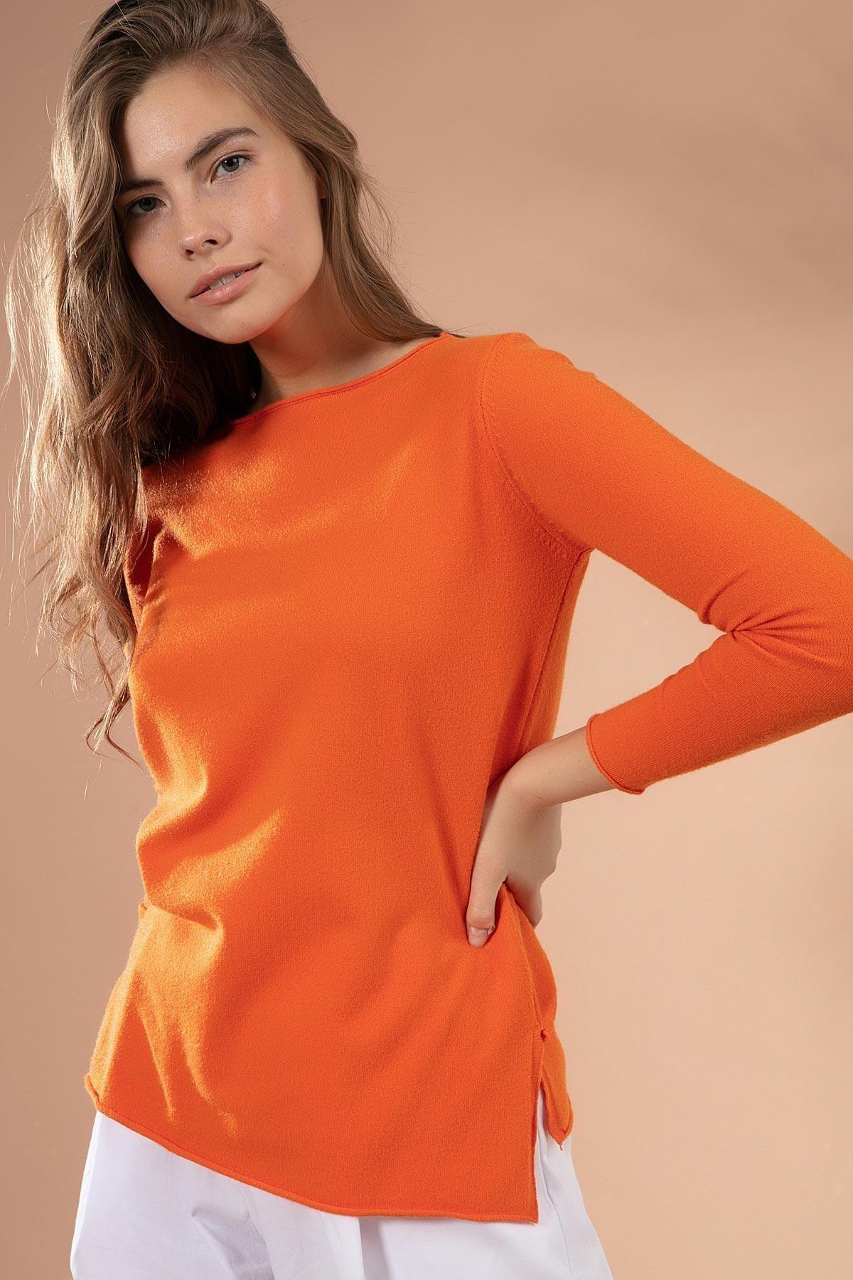 Y-London Kadın Turuncu Yırtmaçlı Basic İnce Triko Kazak Y20W117-20225