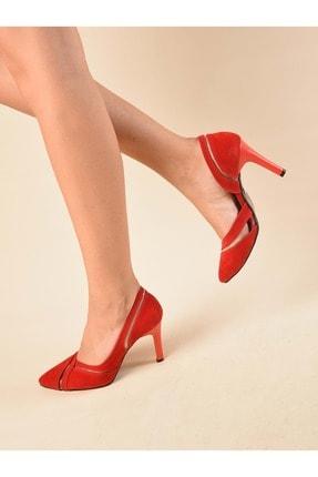Kadın Kırmızı  Süet  Klasik Topuklu Ayakkabı SC051710