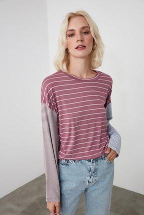 TrendyolMilla Pembe Çizgili Örme Bluz TWOAW21BZ0691